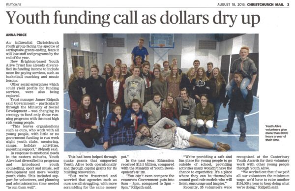 Funding Call - Christchurch Mail - August 2016